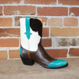 Stallion Ladies Vintage Western Hair On Peewee W/Turquoise Croc Wingtip-Atomic 79