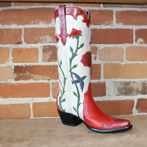 Stallion Ladies Western Triad Boot W/Blue Birds and Pinched Roses-Atomic 79