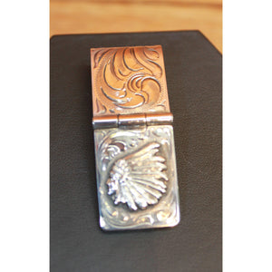 Sterling Silver Indian Head Money Clip W/Hinge-Atomic 79