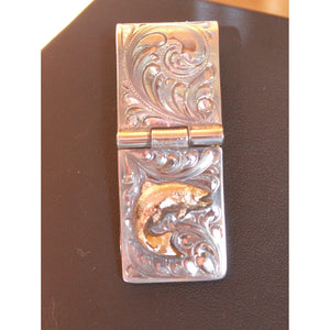 Sterling Silver Money Clip W/Gold Filled Jumping Trout-Atomic 79