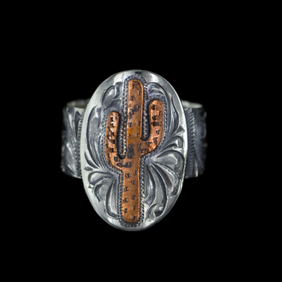 Sterling Silver Ring W/ Copper Cactus-Atomic 79