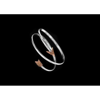 Sterling Silver Twisted Path Bangle W/Copper Arrow-Atomic 79