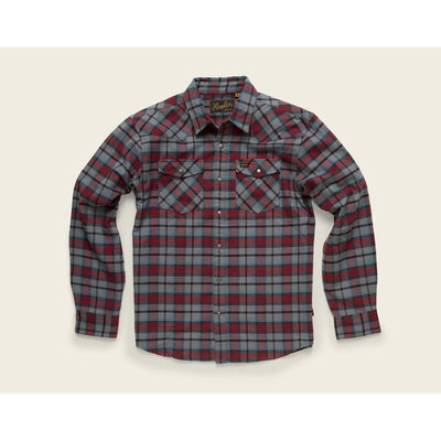 Stockman Stretch Flannel W/Sabine Plaid in Heather Grey and Oxblood-Atomic 79
