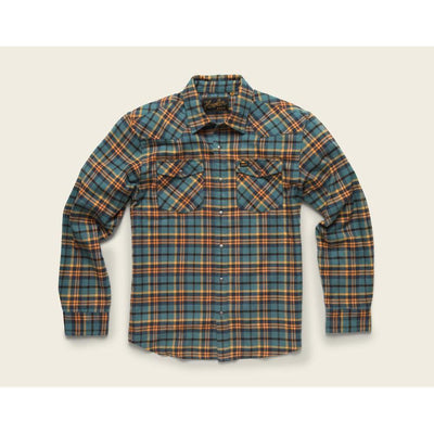 Stockman Stretch Flannel W/Sabine Plaid in Sea Blue and Orange-Atomic 79