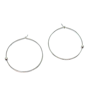 Thin Sterling Silver Hoop W/Sterling Silver Bead-Atomic 79