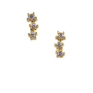 Three Star Stud MicroPave in Gold Vermeil-Atomic 79