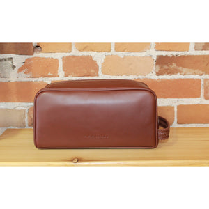 Timeless Brown Leather City Wash Bag-Atomic 79