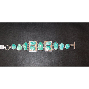 Turquoise Chain Link Bracelet In Sterling Silver-Atomic 79