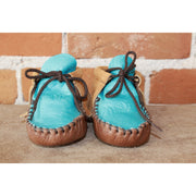 "Wapsi ""Buckaroo""in Two Toned Tan Leather and Turquoise-Atomic 79"
