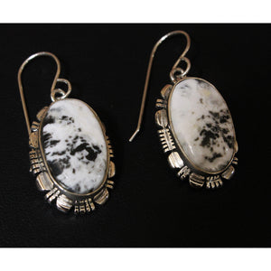 White Buffalo Turquoise Long Earrings set in solid sterling silver-Atomic 79