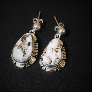 White Buffalo Turquoise post Earrings set in solid sterling silver-Atomic 79