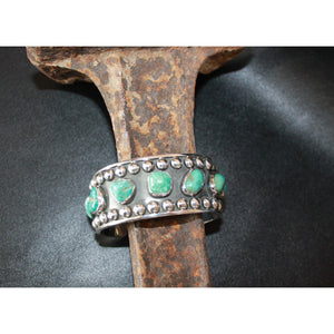 Wide Cuff Bracelet In Sterling Silver And Turquoise-Atomic 79