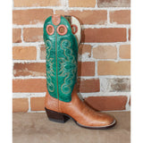 "Women's 14"" Leather Boot W/Habanna Bullhide Foot and Green Volcano top-Atomic 79"