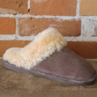 Women's Dark Brown Leather Slippers W/Fleece Lining-Atomic 79