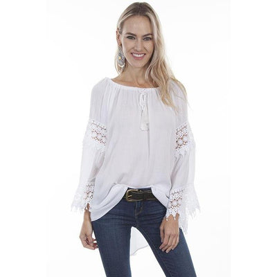 Women's High/Low Crochet Shirt in White-Atomic 79