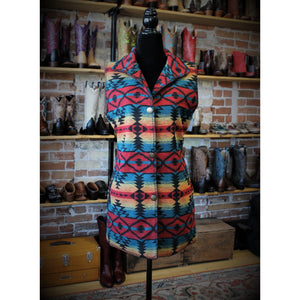 Women's Outback Trading Sunset Red Aztec Print Stockard Vest-Atomic 79