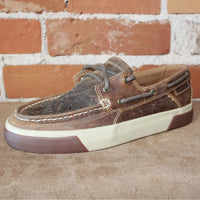 Women's Western Embossed Boat Shoe in Sandstone-Atomic 79
