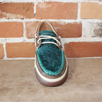 Women's Western Embossed Boat Shoe in Turquoise-Atomic 79