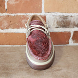 Women's Western Embossed Boat Shoe in Vintage Red-Atomic 79