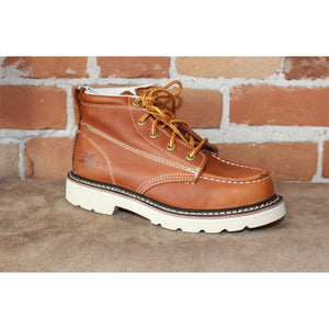 Youth Jackson Moc Toe Lace Up Boot in Tan-Atomic 79
