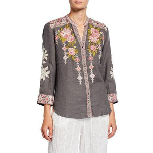 Yuki Button Down Embroidered Blouse in Voltage-Atomic 79