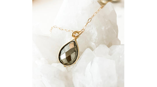 Abrau Jewelry | Pyrite Gemstone Necklace | As Seen on Law & Order