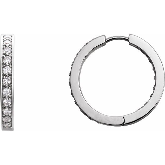 Inside Out Diamond Hoops by Stuller in White Gold | Abrau Jewelry