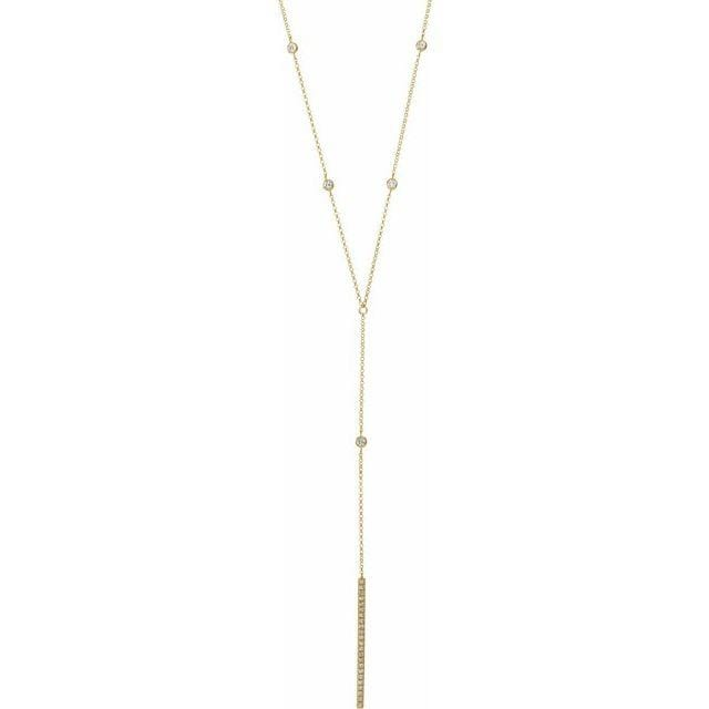 Long Lariat necklace with diamond accents and diamond bar