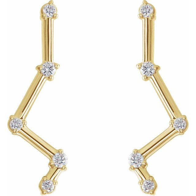 Constellation Diamond 14K Yellow Gold Ear Climbers by Stuller | Abrau Jewelry