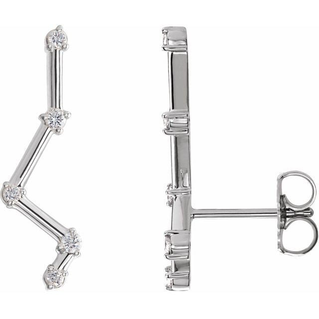 Constellation Diamond 14K White Gold Ear Climbers by Stuller | Abrau Jewelry