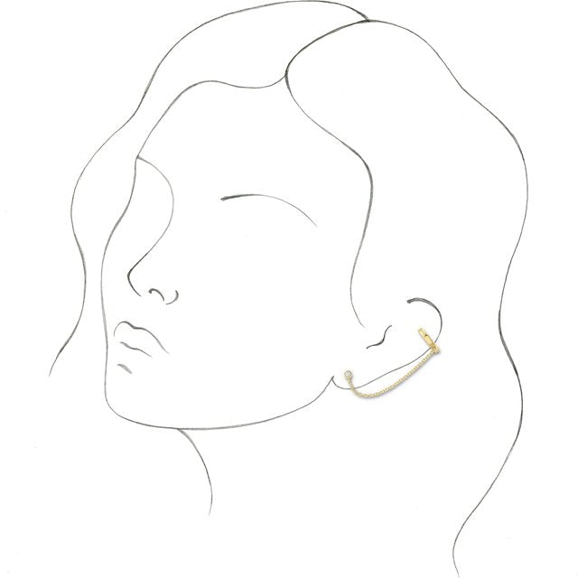 Solid Gold Diamond Ear Cuff with Chain 14K Gold {More Options}