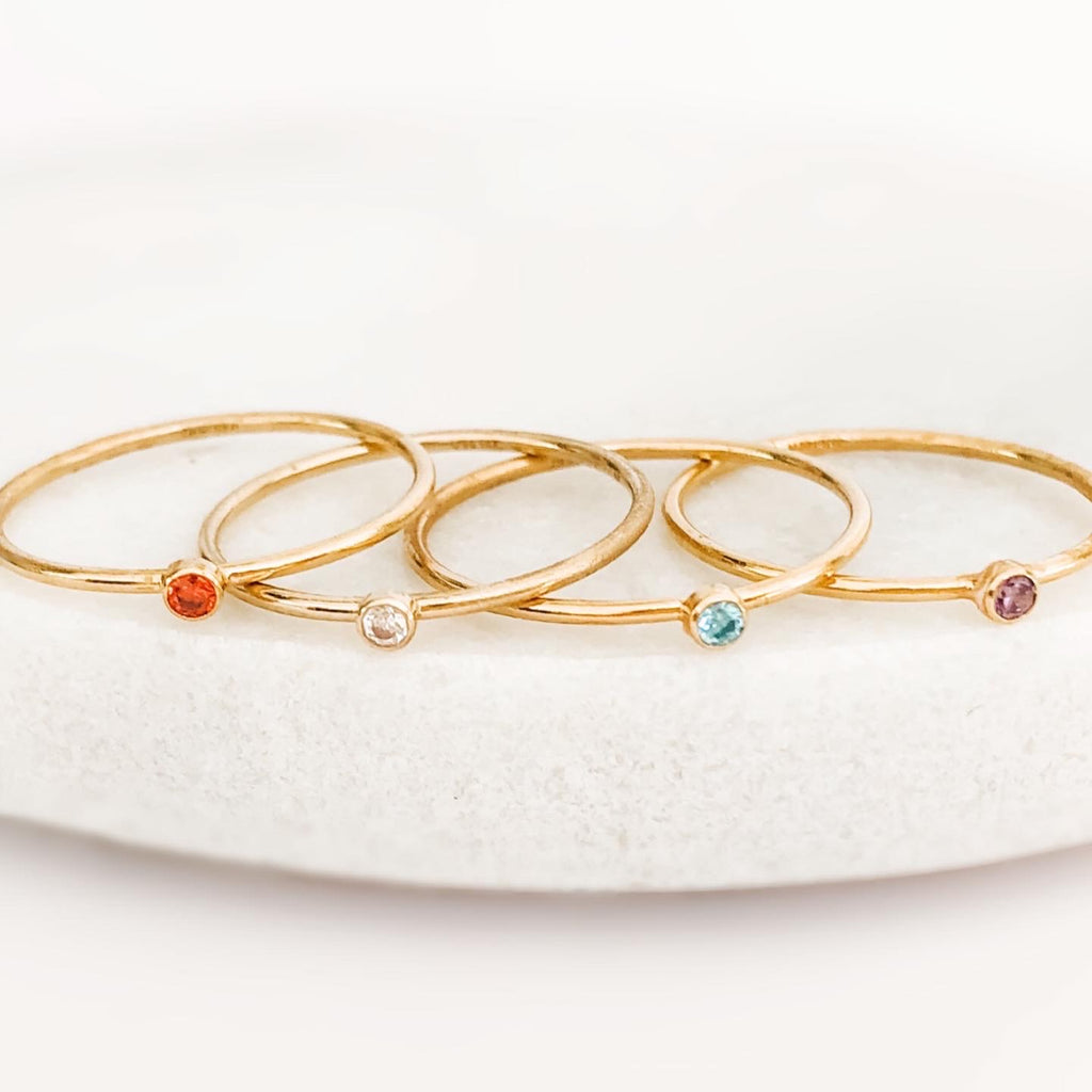 cz birthstone stacking rings