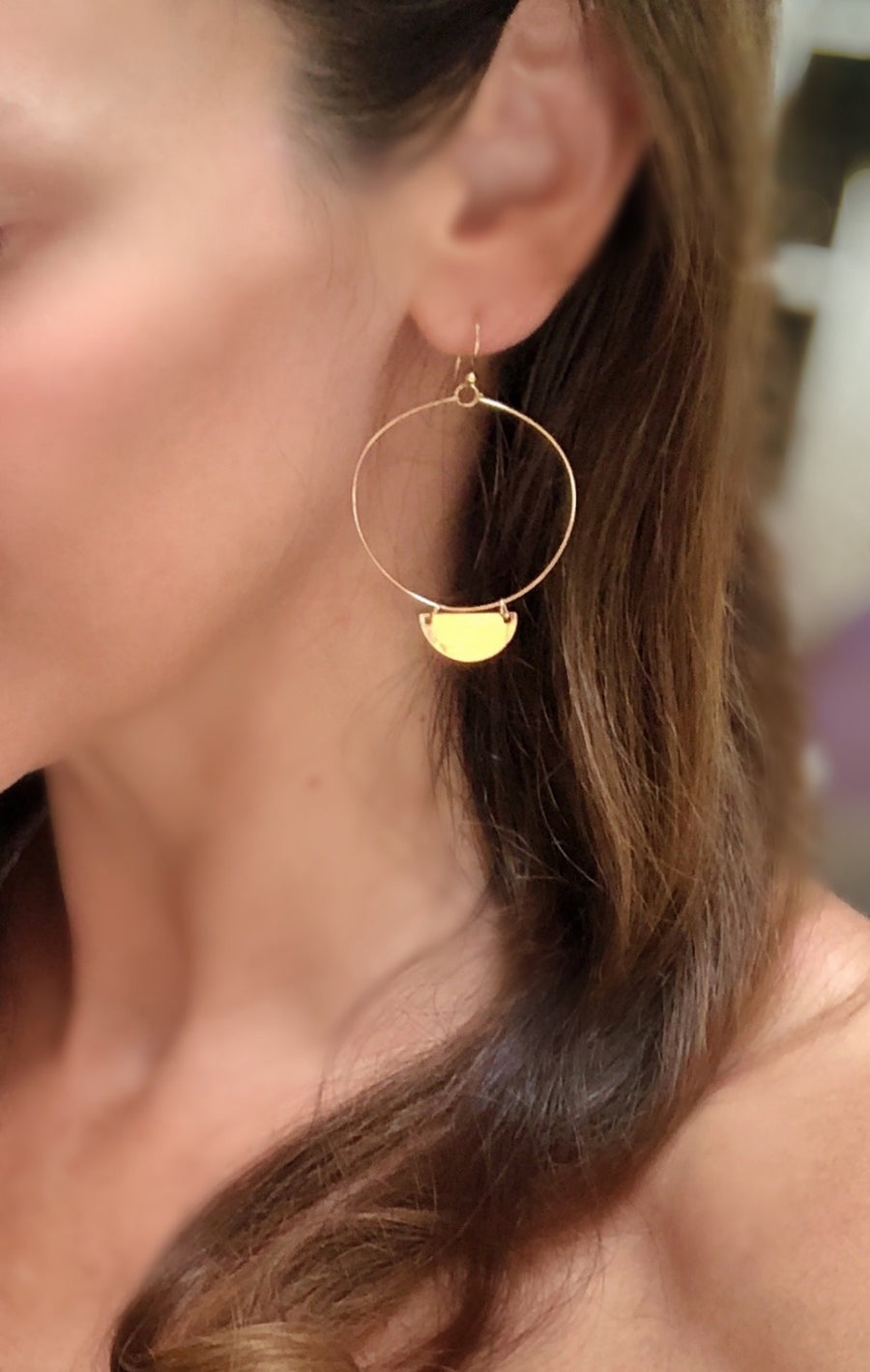 Moon Hoop Earrings Handmade in Vermont Jewelry