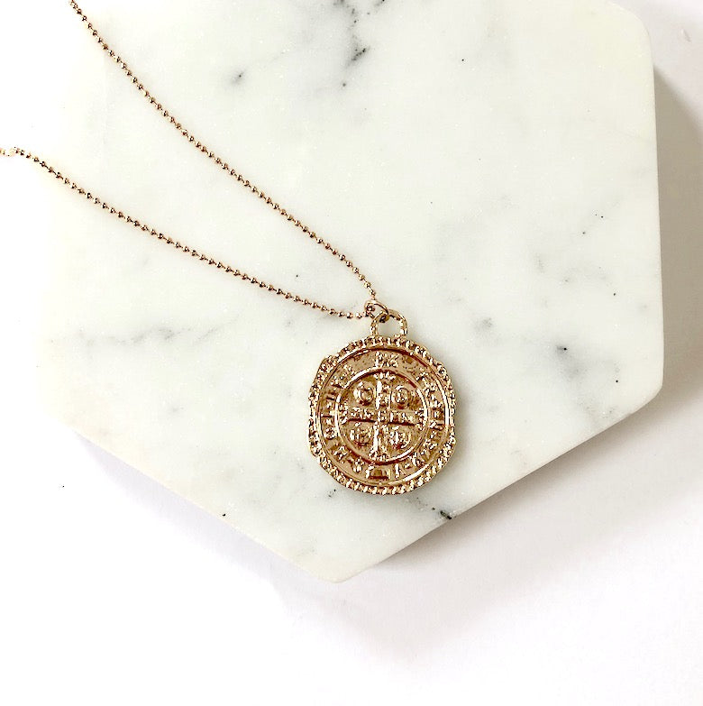Gold Ancient Coin Replica Long Layering Necklace