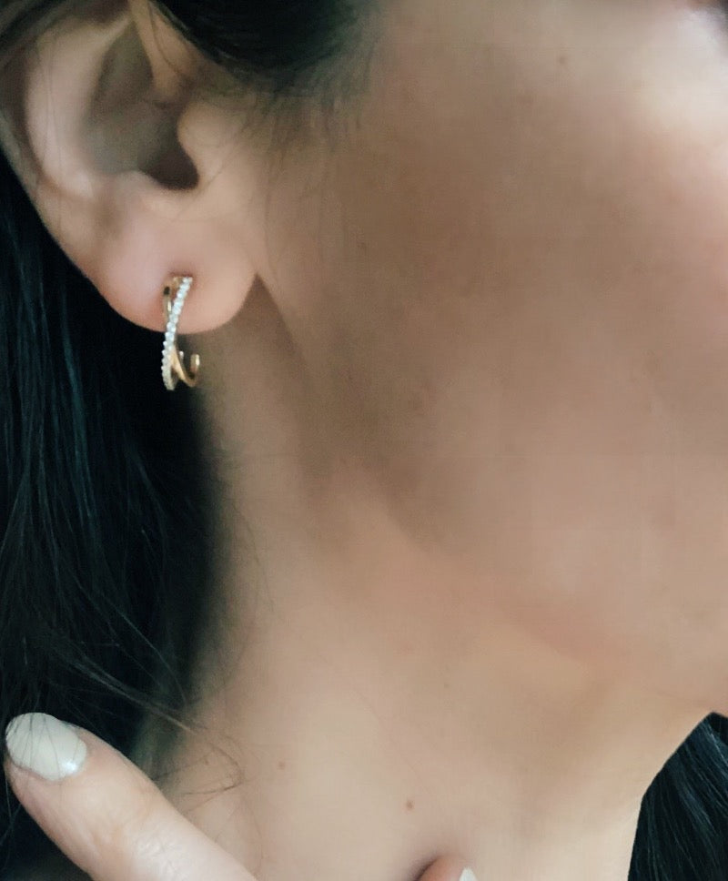 Criss Cross Diamond Hoops As Seen in Ear | Abrau Jewelry