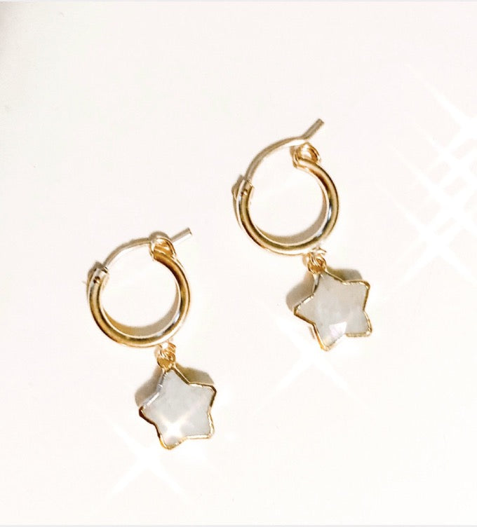 Moonstone Star Hoop Dangles