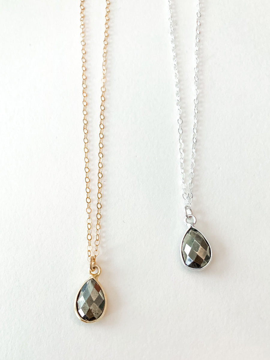 As Seen on Law & Order - Dainty Faceted Pyrite Bezeled Necklace 16-18