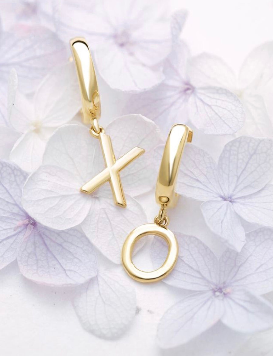 14K Gold Single Initial Hoop Dangle Earring {More Options}