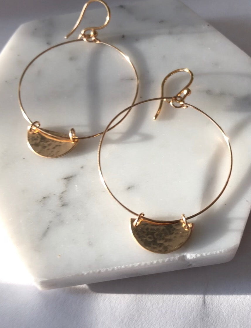 Crescent Half Moon Geometric Hoops - Gold Filled or Sterling Silver