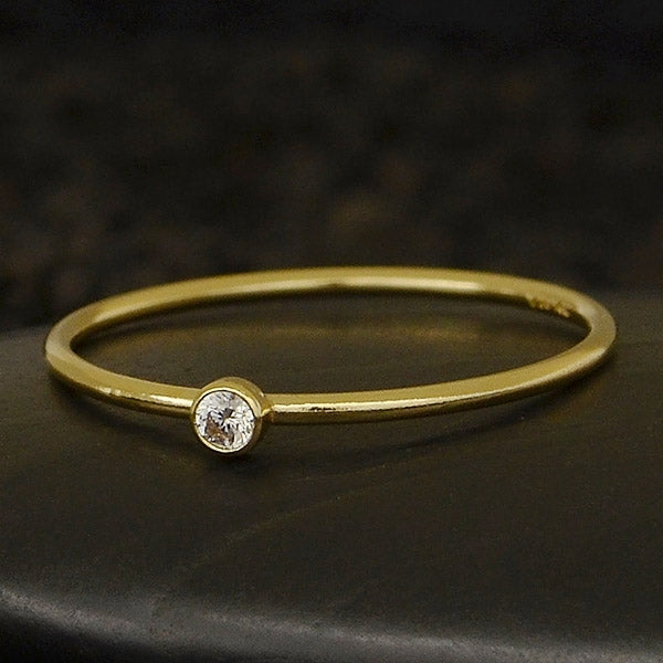 april diamond cz birthstone ring in gold filled