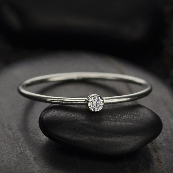 april diamond cz birthstone stacking ring in sterling silver