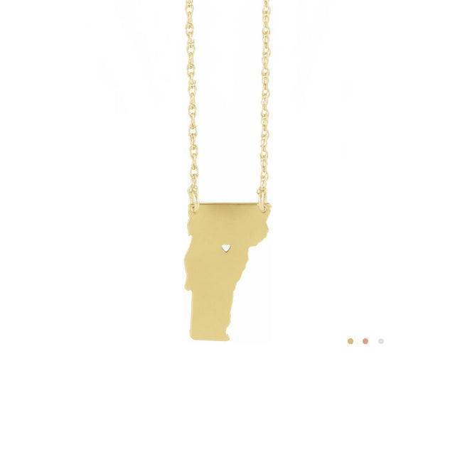 Home state heart town 14k gold necklace