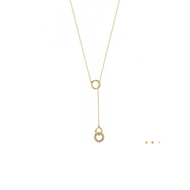 diamond lariat necklace with circles