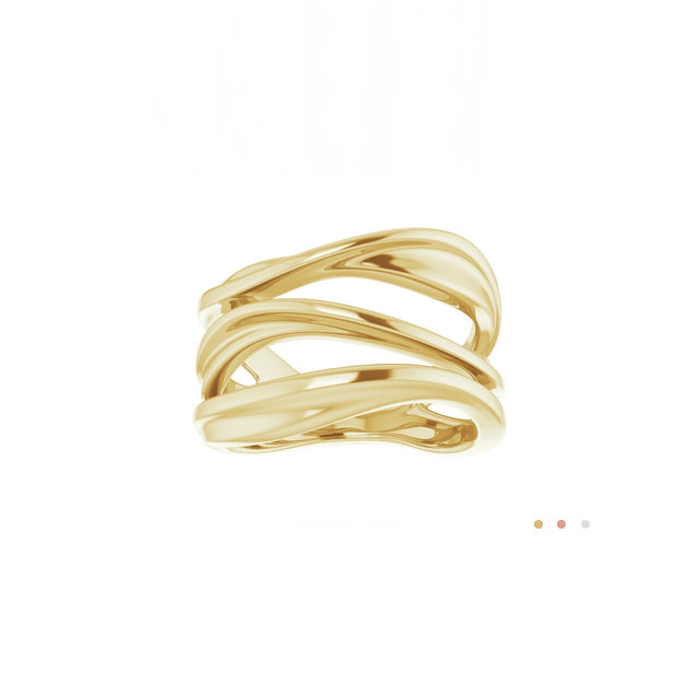 14k yellow gold modern open space ring