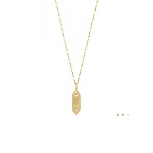 gold initial pendant necklace in 14k yellow gold