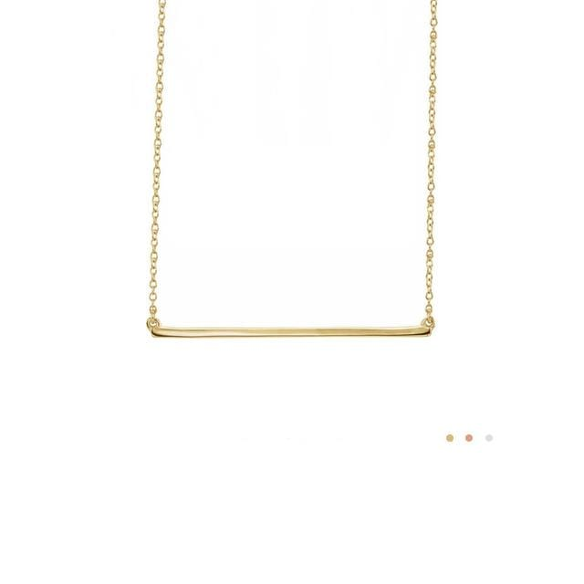 14k yellow gold straight skinny bar necklace