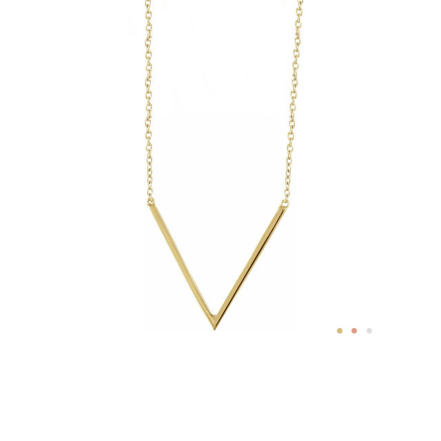 Solid Gold Chevron V Necklace by Stuller | Abrau Jewelry