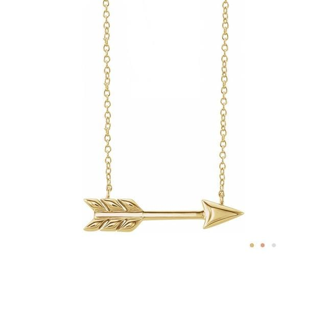 14k gold horizontal arrow layering necklace