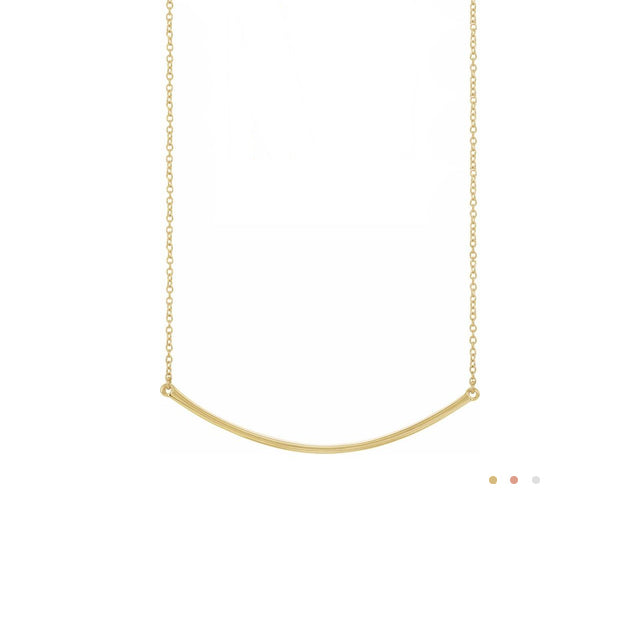 Curved Skinny Bar Necklace by Stuller | Abrau Jewelry