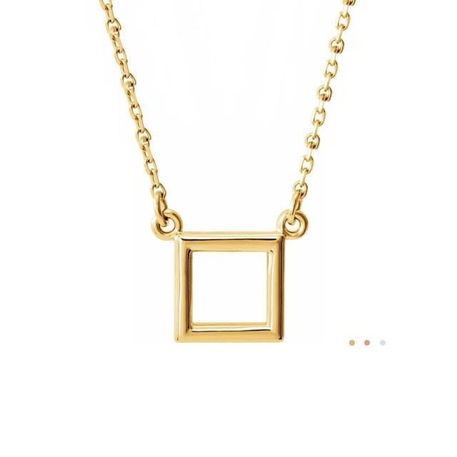 14k yellow gold dainty square geometric necklace